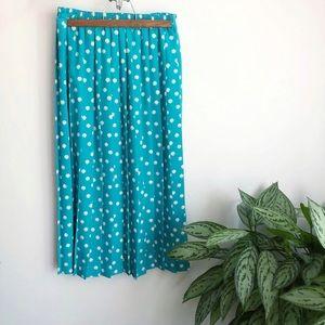 Vintage Leslie Fay polka dot pleated midi skirt